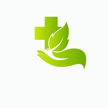 leaf health care green medical logo isolated