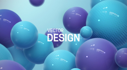 Abstract background with dynamic 3d spheres Wall mural