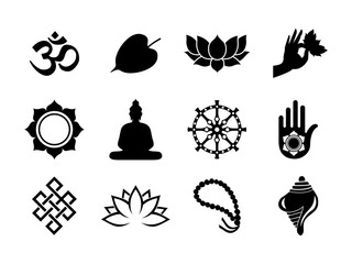 Black Vesak Day icon set on isolated background