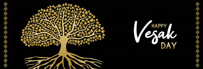 Happy Vesak Day web banner of gold bodhi tree