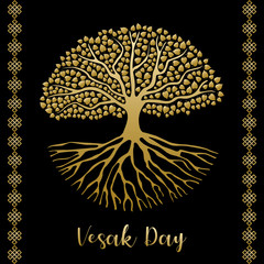 Happy Vesak Day greeting card of gold bodhi tree