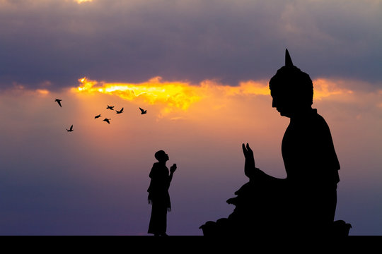 illustration of Buddhist monks at the temple at sunset