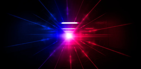 Neon lines on a dark background. Space background, lights space units. Abstract neon background, tunnels, corridors, lenses, glare, laser beams. The virtual reality