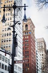 Warren street sign on a lamppost from Manhattan