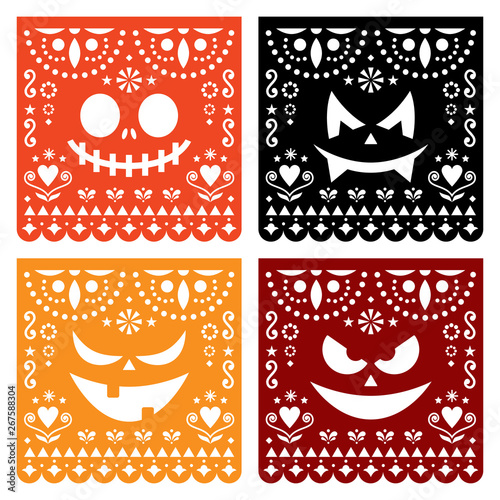 c4ac7cde350 Halloween Papel Picado design with pumpkin scary faces, Mexican ...