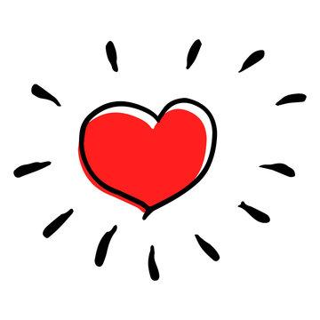 Creative sunny vector heart illustration in childish style.