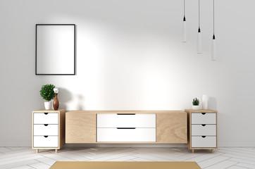 Tv cabinet in modern empty room Japanese - zen style,minimal designs. 3D rendering Wall mural