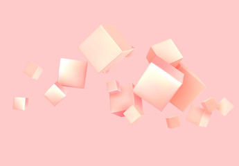 Fotomurales - Abstract Background pink color with 3d cubes.