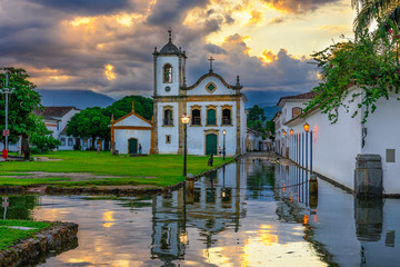 Fotomurales - Historical center of Paraty at sunset, Rio de Janeiro, Brazil. Paraty is a preserved Portuguese colonial and Brazilian Imperial municipality