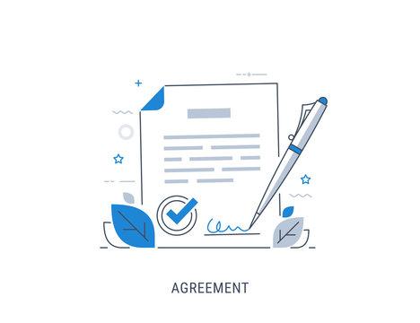 Document signing agreement. Flat modern line-art vector illustration.