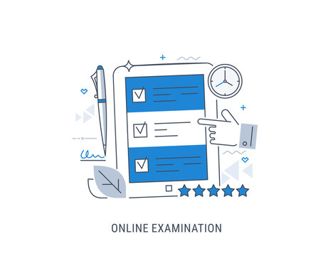 Online examination and learning. Flat modern line-art vector illustration.