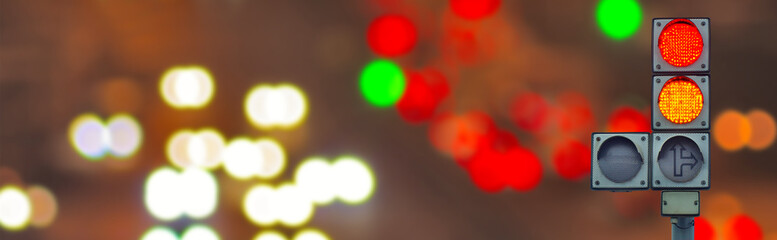 Fotomurales - image of traffic lights on a blurred background