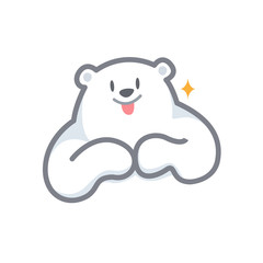 white bear cartoon character cute isolated on white background, beautiful teddy bear cartoon characters cute, clip art bear lovely and funny, clipart white teddy bear mascot cartoon