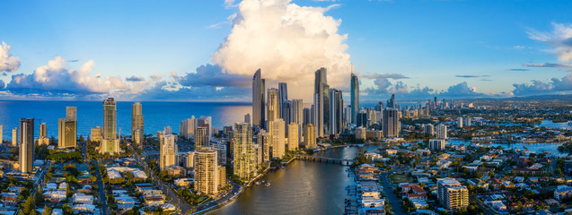 Panorama of Surfers Paradise on Queensland's City of Gold Coast