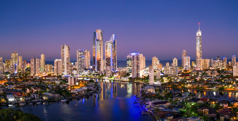 Panoramic sunset view of Surfers Paradise on the Gold Coast looking from the west