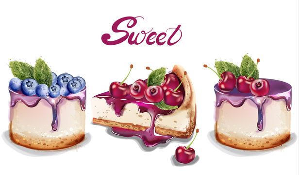Sweet cakes set Vector watercolor. delicious desserts with fruit topings