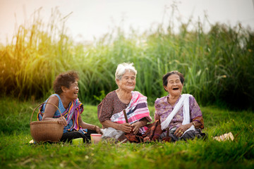 Happy asian woman with rural scene