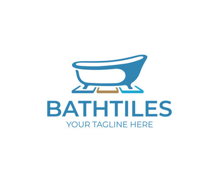 Bathroom tiles logo design. Bathtub and floor tiles vector design. Ceramic tiles logotype