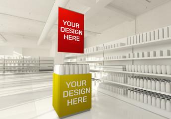 Promotional Sign Zone on Supermarket Mockup