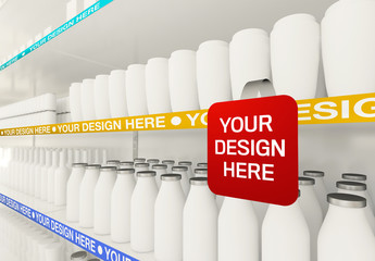 Small Sign on Supermarket Shelf Mockup