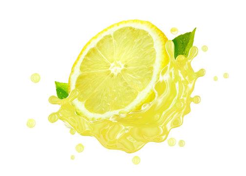 Fresh ripe lemon fruit slice and lemon juice or lemonade splash swirl. Juice splashing, lemon juice label. Liquid healthy detox drink tropical citrus fruit design element. 3D render
