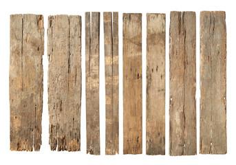 Obraz Wood plank weathered damaged set (with clipping path) isolated on white background - fototapety do salonu