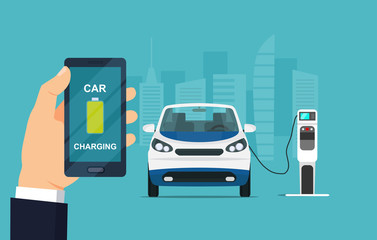Electric micro car is charging, side view. Hand holding smartphone with battery on the screen. Vector flat style illustration