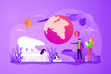 Global warming, environment pollution, global heating impact concept. Vector isolated concept illustration with tiny people and floral elements. Hero image for website.