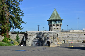 Guard tower and stone wall at an American Prison