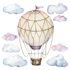 Watercolor set with clouds and hot air balloon. Hand painted sky illustration with aerostate isolated on white background. For design, prints, fabric or background.