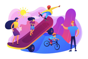 Kids skateboarding and riding a bike in skate park and trainers, tiny people. Extreme camp, summer extreme sports, kids extreme program concept. Bright vibrant violet vector isolated illustration