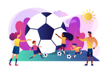 Kids learning to play soccer with balls on the field in summer camp, tiny people. Soccer camp, football academy, kids soccer school concept. Bright vibrant violet vector isolated illustration