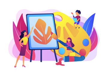 Female artist at easel teaching children painting with palette and brushes, tiny people. Art studio, open art classes, modern arts gallery concept. Bright vibrant violet vector isolated illustration
