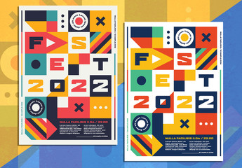 Flyer Layout with Multicolored Geometric Shapes