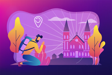 Kneeling pilgrim reached famous christian cathedral and praying. Christian pilgrimages, go on pilgrimage, visit the saint places concept. Bright vibrant violet vector isolated illustration