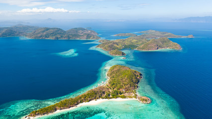 Deurstickers Turkije Tropical island with coral reefs. Seascape in the Philippines aerial view