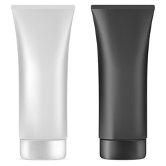 Cream Tube. Plastic Cosmetic Package Blank. Realistic Container for Face Care Creme, Toothpaste, liquid Treatment or Intimate Product. Body Gel or Scrub Squeese Tube Mockup Design. Vector Illustration