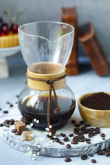 still life of coffee made in kemex