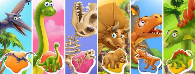 Dinosaurs cartoon character. Brachiosaurus, pterodactyl, tyrannosaurus rex, dinosaur skeleton, triceratops, stegosaurus. Funny animals 3d vector icon set
