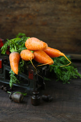 natural organic carrots, rustic style