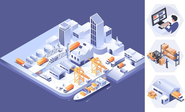 Warehouse Logistic for website and mobile website. Landing page template.Logistics isometric infographics