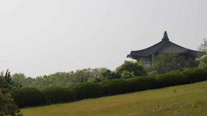 하늘과 잔디와 전각 Fotobehang