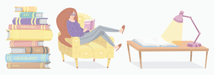 Stylish young female reading an open book. Lover of literature sits on the chair. Stack of encyclopedias and inverted pages. Symbols and objects in contemporary style. Vector illustration for posters.