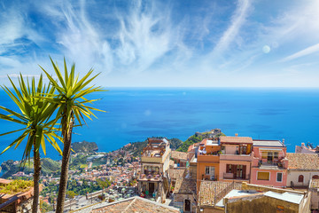 Aerial view of Castelmola and Taormina in Sicily, Italy