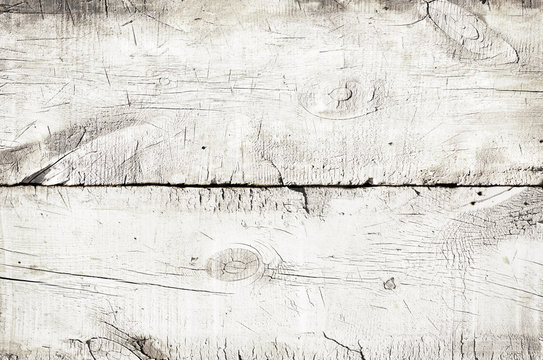 White wood texture, top view of wooden table. Close up of colored rustic wall background, texture of old top table, grunge background
