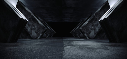 Sci Fi Futuristic Dark Concrete Grunge Reflective Modern Alien Spaceship Empty White Glow Shine Corridor Tunnel Hallway Underground Garage Entrance Abstract Elegant 3D Rendering