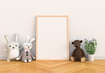 Blank photo frame for mockup and doll on floor, 3D rendering