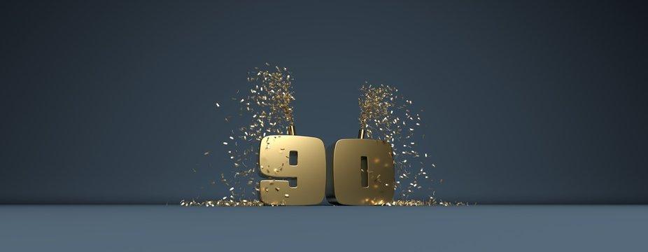 90 ème anniversaire en lettres dorées