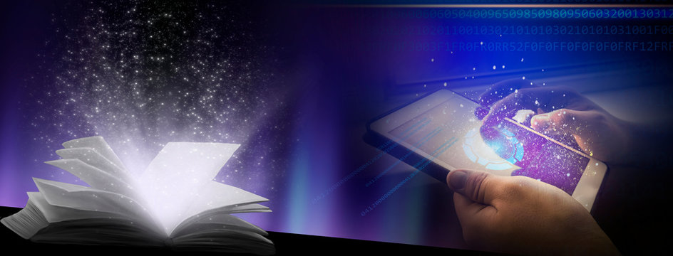 Abstract blue background with neon lights. The tablet in hand, the screen glows. An open book with a magical light.