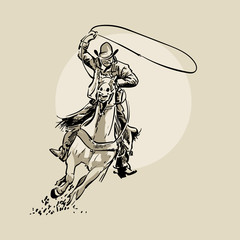 American cowboy riding horse and throwing lasso. Hand drawn vector illustration. Hand sketch. Illustration. Vector.